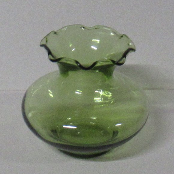 Vintage Small Light Olive Green Ruffled Vase